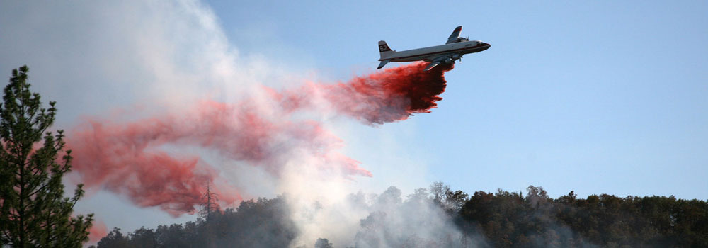 Air tanker engaged in emergency services